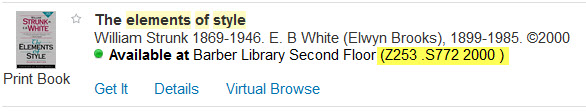 Example of a call number in a library catalog